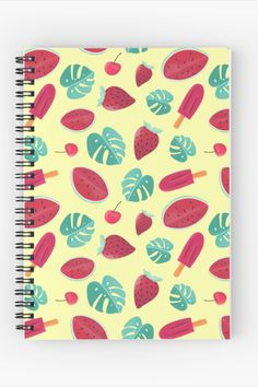 Ice creams and watermelons, sweet pattern Spiral Notebook Designed and sold by cool-shirts Redbubble Spiral Notebooks, sketchbooks #notebook #stationery #sketchbook #redbubble #notepad #art #accessories 120 pages Cover 350gsm, paper stock 90gsm Front cover print from an independent designer Available in a selection of ruled or graph pages Handy document pocket inside the back cover Bullet Journal Project Planning, Notebook Design, Cover Pages, Cool Shirts, Watermelon, Notebook Stationery, Finding Yourself, Ice Cream, Spiral Notebooks