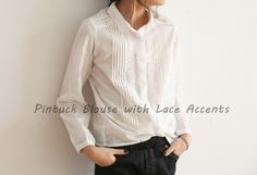 [HODOOSTORY] PINTUCK BLOUSE WITH LACE ACCENTS