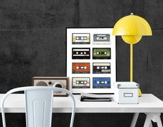 Affiche Collection Vintage - Cassettes - format 30X40 : Affiches, illustrations, posters par rgb