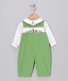 Take a look at this Petit Ami Green Santa Claus Corduroy Playsuit - Infant by Festive Finery: Kids' Apparel on today! Green Santa, Playsuit, White Tops, Corduroy, Kids Outfits, Overalls, Infant, That Look, Separates