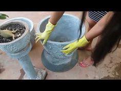 Vaso de cimento decoração folha . - YouTube