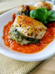 Pesto Stuffed Scallops - Proud Italian Cook Fish Dishes, Seafood Dishes, Seafood Recipes, Dinner Recipes, Cooking Recipes, Healthy Recipes, Shellfish Recipes, Seafood Scallops, Fish And Seafood