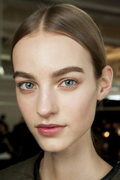 luminous skin, groomed brows and subtle definition on the eyes using beige shadow. Hugo Boss 2015 NYC