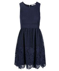 Crochet Lace Overlay DressCrochet Lace Overlay Dress, Deep Blue