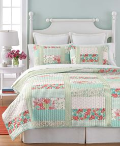 Martha Stewart Collection Aqua & Coral Patchwork Posey Twin Quilt