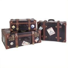 IMAX Corporation Labeled Suitcases (Set of 3) ($202) ❤ liked on Polyvore featuring home, home decor, small item storage, bags, decor, filler, travel, black home decor, black box and brown boxes