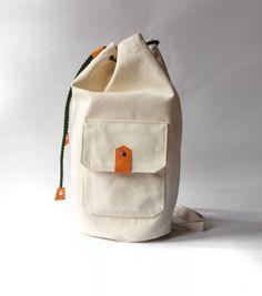 worek plecak - ecru&orange&green -