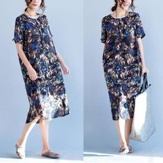 Women summer short sleeve retro style floral printing loose cotton linen dress