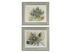 Shop for Uttermost Blue Lotus Flower I, II, S/2 Art, 41325, and other Accessories at Hickory Furniture Mart in Hickory, NC. Inner portion of frames have very soft, muted colors of green, gray, pink and lavender. Outer and inner lips have a silver leaf finish with gray glaze.