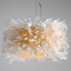 How dramatic are these lamps made of goose feathers... totally love this one... now I would just need a bigger apartment :).  #lamps #lighting #interior #design #pluma #textura #feather