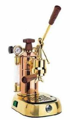 La Pavoni Professional 16-cup Lever Espresso Machine; Gold finish w/Wood Trim
