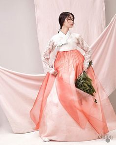 hanbok the skirt sheer over white look. plus those flowers - need to add Korean Traditional Clothes, Traditional Fashion, Traditional Dresses, Korean Fashion Trends, Korea Fashion, Asian Fashion, Korean Dress, Korean Outfits, Hanbok Wedding