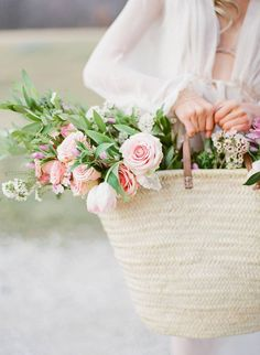 Feminine outdoor bridal session documenting the bridal morning with Kristin La Voie Photography and May Floral Design