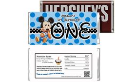 Baby Mickey Mouse 1st Birthday Candy Bar Wrappers