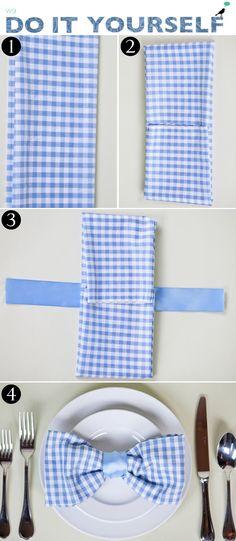 dobradura de guardanapo em forma de gravata borboleta para dia dos pais.