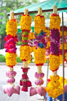 Thai Garlands or called Phuang Malai. They are given to the spirit houses or at the base of buddha images. You can see vendors at the traffice light in big cities in Thailand or at flower stalls in Flower Market, Bangkok - Thailand.