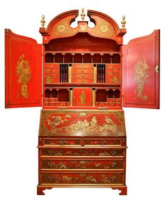 A George II style red Japanned secretary cabinet.  Altered, yes.  But still, makes me go weak in the knees!