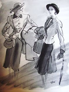 1944 illustration of Vera Maxwell suits, by RBW @Pintuckstyle.blogspot.com