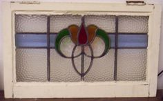 OLD-ENGLISH-LEADED-STAINED-GLASS-WINDOW-Transom-Flower-Design