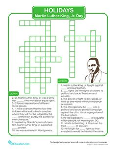 Children learn about Martin Luther King, Jr.'s life and legacy as they solve a crossword puzzle in this hands-on worksheet. Homeschooling 3rd Grade, Social Studies Curriculum, Geography Lessons, Senior Activities, Creative Teaching, Holidays With Kids, King Jr, Crossword, Martin Luther King Day