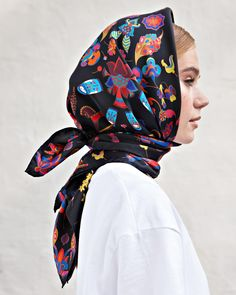 """Russian scarf """"Sparks of joy (martyoshka cosmonauts)"""" Шелковый платок «Искры радости (матрешки-космонавты)» Lilac, Purple, How To Wear Scarves, Neck Scarves, Grace Kelly, Colorful Fashion, Bandana, Hair Styles, Womens Fashion"""