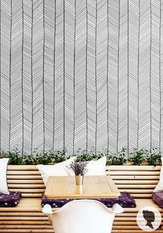 Bold & Chic self adhesive removable wallpaper! Add personalised charm to your room in just a few minutes! :)    SIZE   * Small: 20.9 x 48 / 53cm x 120cm Hall Wallpaper, Print Wallpaper, Fabric Wallpaper, Chevron Wallpaper, Herringbone Wallpaper, Herringbone Pattern, Traditional Bedroom, Traditional Wallpaper, Chevrons