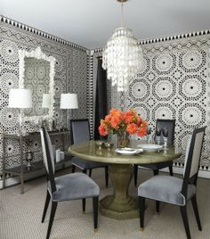 Home Interior Trends 2014 - Dining-Room Patterned Wallpaper