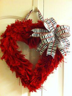 Red Burlap Valentine Heart Wreath Zebra Stripe Bow by aDOORnaments, $28.00