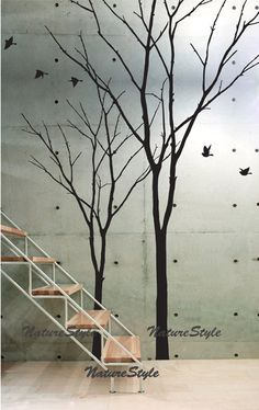 vinyl wall decal winter trees wall decal nursery flying birds decal tree wall decor girl bedroom decor-Two Winter Trees. $78,00, via Etsy.
