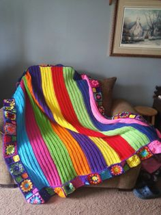 rainbow blanket I made for my daughter...all finished