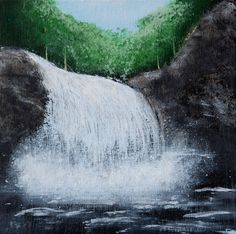 """Waterfall"" 10""x 10"" acrylic on gallery-wrapped canvas $25 + shipping"