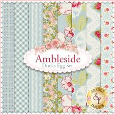 """Ambleside 8 FQ Set - Ducks Egg by Brenda Riddle for Moda Fabrics: Ambleside is a collection by Brenda Riddle for Moda Fabrics. 100% Cotton. This set contains 8 fat quarters, each measuring approximately 18""""x21"""""""