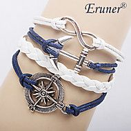 [XmasSale]Eruner® Women's Multilayer Alloy Anchor Infinite Charms Handmade Leather Bracelets
