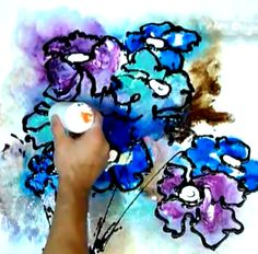 How to Paint Flowers in Abstract Style using Acrylic Paint on Canvas Techniques using Sponge, Bottles mixed with paint and water.