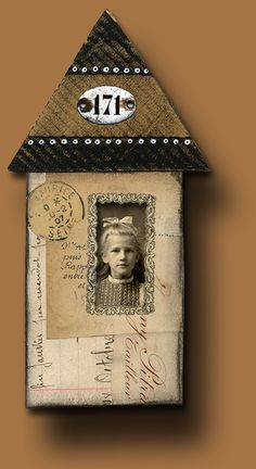house art by La Belle Brocante Mixed Media Collage, Mixed Media Canvas, Art Houses, House Art, Found Object Art, Altered Art, Altered Canvas, Assemblage Art, Artist Trading Cards