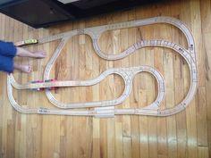 Wooden train track set up