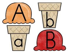 Ice Cream ABCs {matching uppercase to lowercase letters} - either make with magnets on back or felt Nanny Activities, Toddler Learning Activities, Alphabet Activities, Free Preschool, Preschool Printables, Preschool Activities, School Cartoon, Letter Matching, Uppercase And Lowercase
