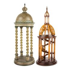 Two Architectural Dome Models  Comprising an example with a domed lid and barley twist supports, and another with an internal staircase.