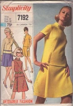 MOMSPatterns Vintage Sewing Patterns - Simplicity 7192 Vintage 60's Sewing Pattern HOT Mod Designer Fashion Separates, 2 Piece Dress, Welt Tab Trim Roll Collar Blouse, Top, Pleated Panel Front Skirt Size 12