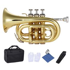 Mini Pocket Trumpet Bb Flat Brass Wind Instrument with Mouthpiece Gloves Cleaning Cloth Carrying Case Pocket Trumpet, Blue Juice, Golden Color, Messing, Musical Instruments, Mini, Bag Accessories, Plating, Cover Up