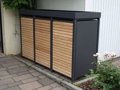 The garbage bin box aluminum with larch doors is without holes, with square holes … - Diyprojectsgarden.club - The garbage bin box aluminum with larch doors is without holes, with square holes … - Diy Pergola, Cheap Pergola, Pergola Carport, Carport Plans, Steel Pergola, Pergola Shade, Bin Shed, Garbage Storage, Trash Can Storage Outdoor