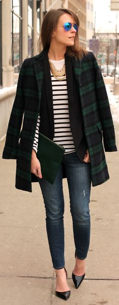 Joe Fresh Green Plaid Coat by Penny Pincher Fashion