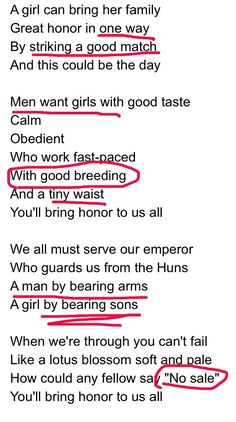 """When you realize how incredibly sexist that song from Mulan is - """"Honor"""". So much more respect for the message in that mo or now"""
