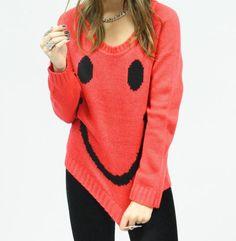 Cara feliz chica mujeres suéter de punto lindo por GrahamsBazaar