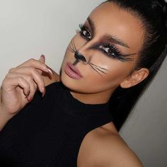 Pretty and Easy Kitty Halloween Makeup Idea