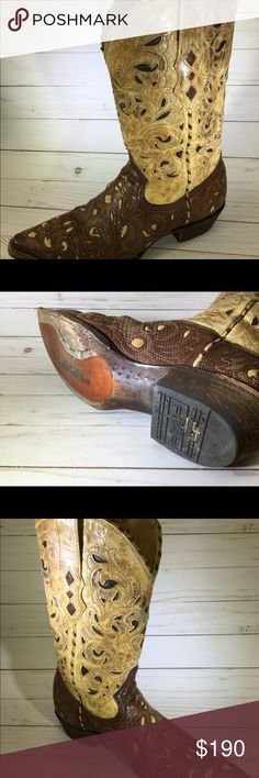CORRAL VINTAGE COWBOY BOOTS A gorgeous pair of men's cowboy boots, size 10EE.  Preowned, very good condition. Lizard, laser cut inlay tooling western boots. Corral Shoes Cowboy & Western Boots