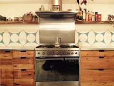 Flecha Encaustic Cement Tile - Used here as Splashback in a clients kitchen.