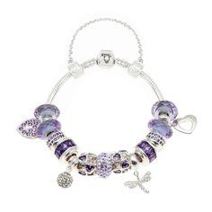 Purple Dusk Dragonfly Silver Charm Bracelet Bora Bora Collection