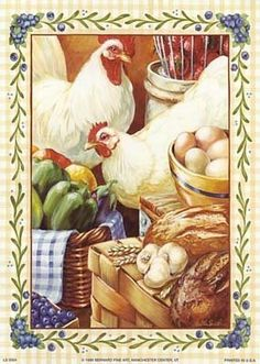 Images chickens for decoupage (artist unknown)