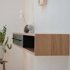 Floating console table white oak shelf by tealandgold on Etsy,